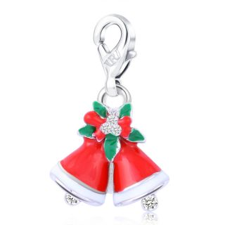 Bells Vivid Lobster Clasp Charm for Bracelet White Gold Plated