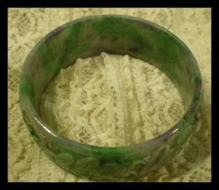 Chinese Carved Green & Purple Jade Bangle Bracelet Lotus Turtle Pond