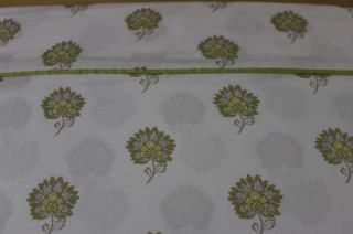 Santorini Floral Queen Sheet Set Lime Green White 4pc
