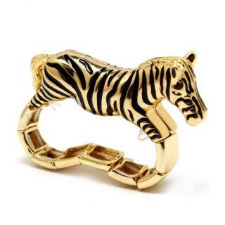 Zebra Two Finger Stretch Ring 3D Gold Tone Black New