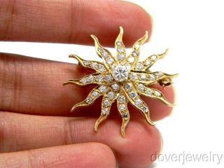 Antique 1 25ct Diamond 14k Gold Sun Pendant Pin