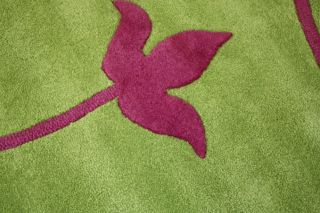 New Tulip Pink Lime Green 100 Wool 120x170 Large Rugs