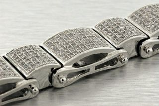 14k White Gold Plated Simulated Lab Diamond Pave Bracelet Mens Hip Hop
