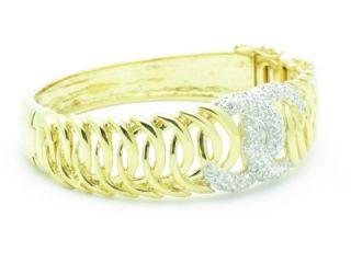 Gold Silver Diamond Set Pave White Sapphire Bangle Cuff Bracelet