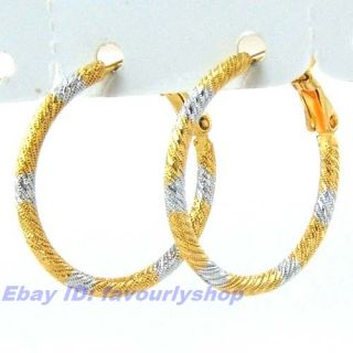 Twisted Wire Carved 18K Bicolor Gold GEP Hoop Earring