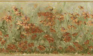 Sage Green Golden Orange Wild Flower Daisy Floral Meadow Wall Paper