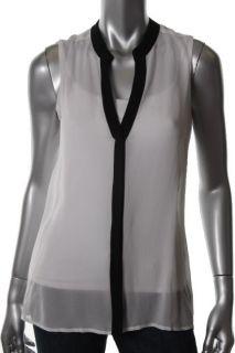 Jones New York New White Snap Front Sheer Silk Sleeveless Blouse Top