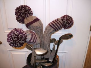 Hand Knit Golf Club Head Covers Set of Three New Gray Purple Pom Poms