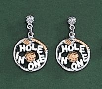 Hole in One Golf Earrings Dangle 23kt Gold Ships Today