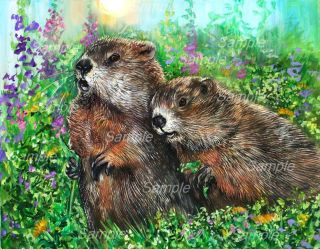Groundhog Giclee of Painting Spring Wildlife Woodchuck Marmot Kasheta