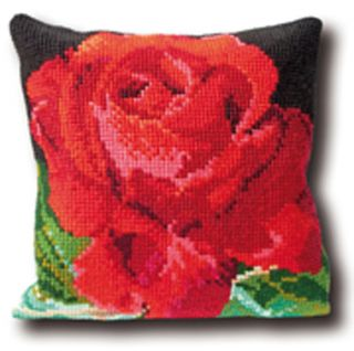 Thea Gouverneur Counted Cross Stitch Kit 15 x 15 Rose Pillow 4001