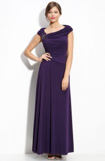 JS Boutique Beaded Off Shoulder Jersey Gown Mob 14 $198 00