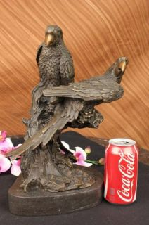 Grey Parrot Bronze Sculpture Marble Base Art Deco Figurine Bird SALE