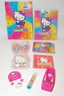 HELLO KITTY Desk Accessories Set Big Lot Supplies Notebooks Nail