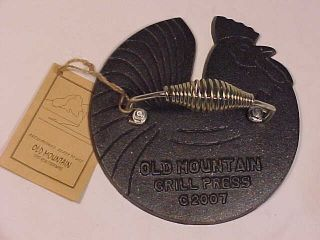 Old Mountain Cast Iron Pre Seasoned Rooster Grill Press