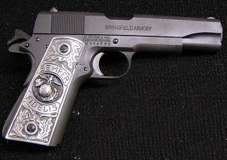 1911 Custom Gun Grips Solid Pewter USMC Eagle Semper Fi Colt Kimber