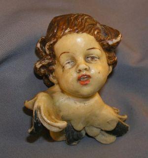 Vintage German Painted Wax Winged Cherub Head Christmas Ornament