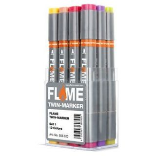 FLAME SKETCH MARKER   12 MAIN SET   GRAPHIC ART TWIN TIPPED PENS