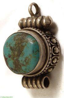 Tibetan Silver Ghau Pendant Turquoise Colored Inset