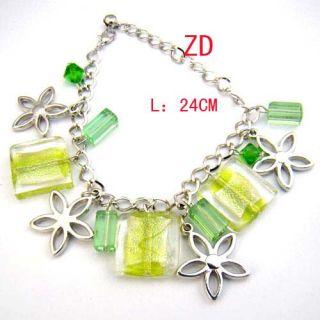 A0236 Green Glass Crystal Bead Candy Flower Bracelet