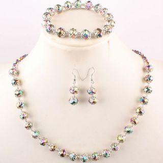 Colorful Crystal Glass Faceted Bead Necklace Bracelet Earrings Set