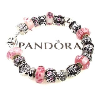 Authentic Pandora Bracelet Pink Live Love Laugh Joy Words Charm Murano