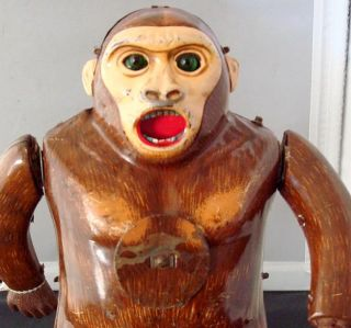 Vintage 60s B O Tin Toy King Kong Gorilla Japan NR