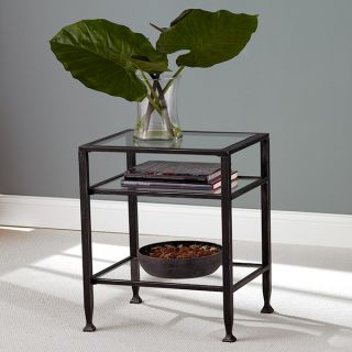 MT27078 Pair of Metal Glass End Tables 2pcs Set