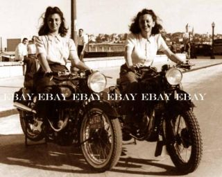 1946 ~ 2 GIRLS WOMEN MOTORCYCLES MOTORCYCLE HARLEY INDIAN GIRL WOMAN