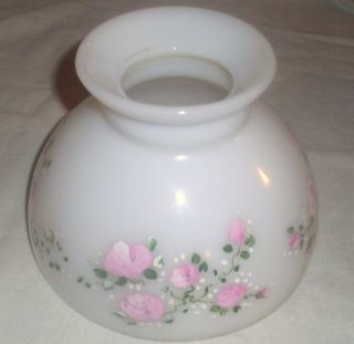 Vintage Milk Glass Lamp Shade Hand Painted Flowers