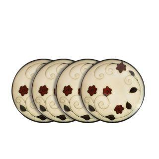 Gourmet Basics by Mikasa Belmont Round Leaves Salad Plates Set of 4