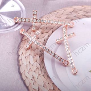 3pcs clear crystal rose gold tone jesus cross connector 42x14x3mm fit