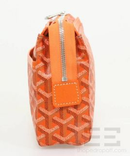 Goyard Orange Chevron Coated Canvas Leather Cosmetic Zip Pouch New