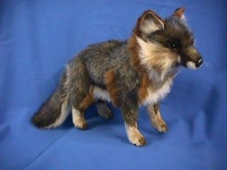 features of hansa gray fox stuffed plush animal standing 15 l x 6