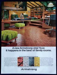 Vintage 1968 Armstrong Vinyl Floors Coronelle Collection Magazine Ad