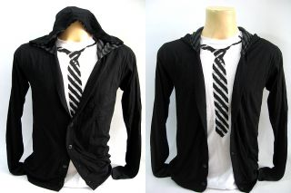 New Men Black Hood Cardigan Long Sleeves Glee Rockabilly T Shirt Tee