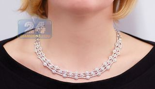 14k White Gold 10 67 Ct Icy White Diamond Womens Chain Necklace 18