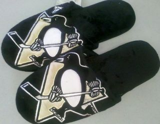 pair pittsburgh penguins big logo slippers 2010 new nhl