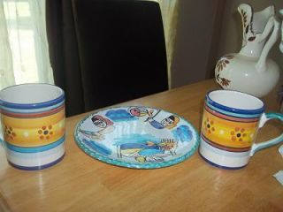 ITALIAN POTTERY PLATE AND MUG SET NICE GIFT DERUTA ITALY EXCELLENT