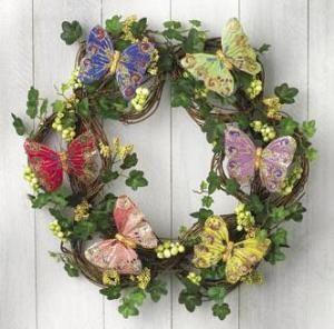 Silk Butterfly Design Grapevine Wreath Glittery New
