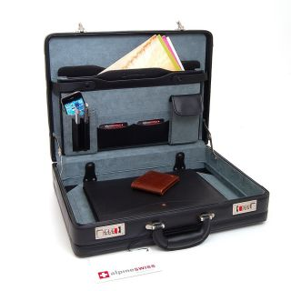 Expandable Leather Attache Case Briefcase Hard Sided Legal Size 1 yr
