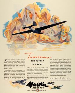 1943 Ad Glenn L. Martin Military Aircraft WWII War Production Aviation