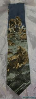 RARE Endangered Species Between Hunts Grey Wolf Wolves Print Silk Tie