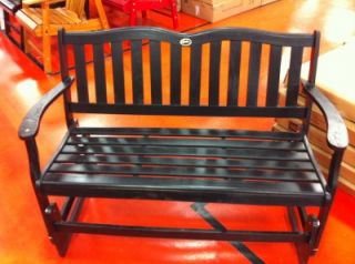 Item Gloss Black Outdoor Wooden Porch Garden Glider Bench Chair