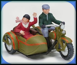 1930 Harley Davidson VL W/Sidecar NEW Department Dept. 56 Christmas In