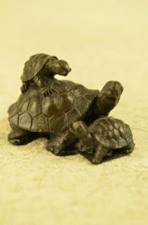 Turtle Family at Picnic Bronze Figurine Statue Signed by Milo