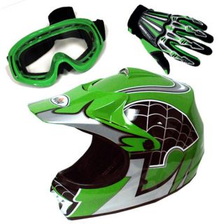 Youth Kids Motocross MX BMX Bike Helmet Spider Green Goggle Glove
