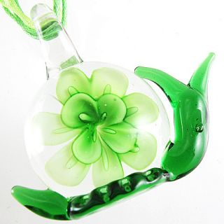 Green Flower Snail Murano Art Lampwork Glass Pendant Ribbon Necklace