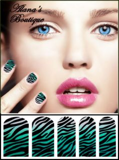 Green and White Zebra Animal Print Nail Polish Art Sticker Foil