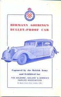 Mercedes Benz Cabriolet D Hermann Goering Booklet